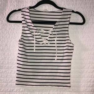 Navy and White stripped crop top